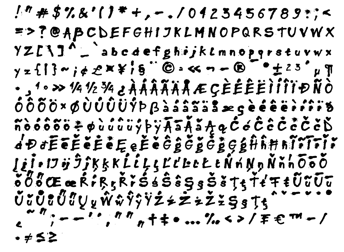 inkaust font - complete character list