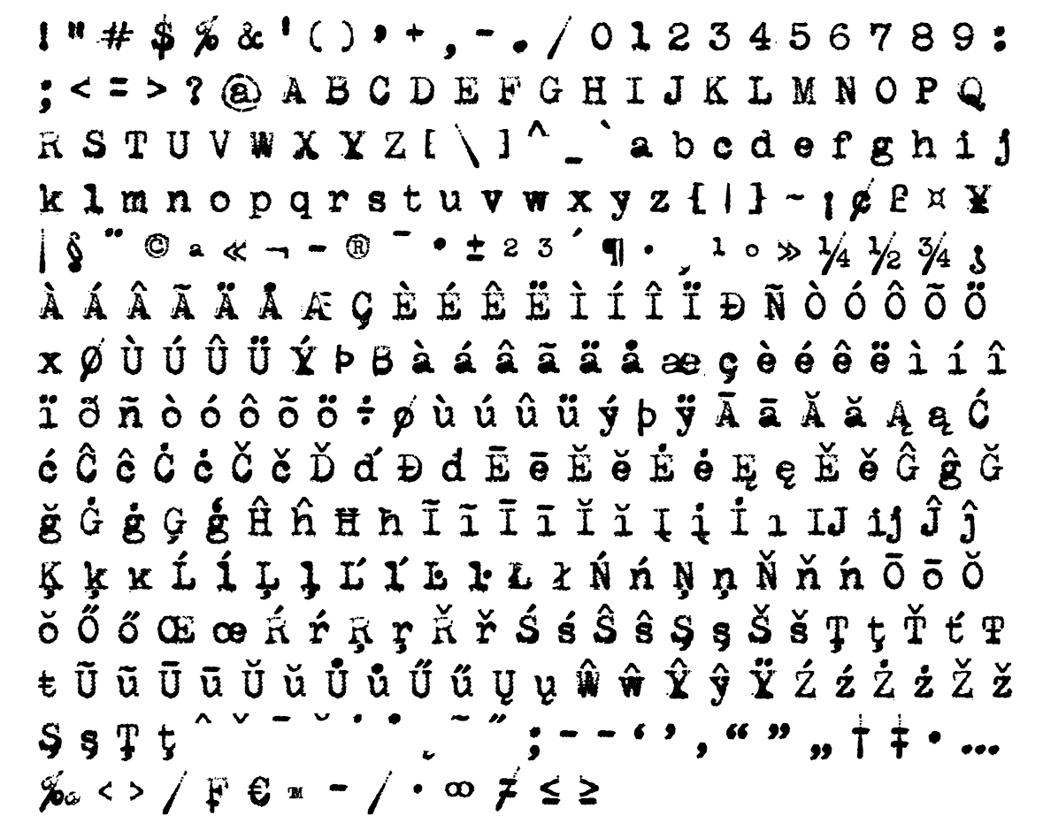 machinar font - complete character list