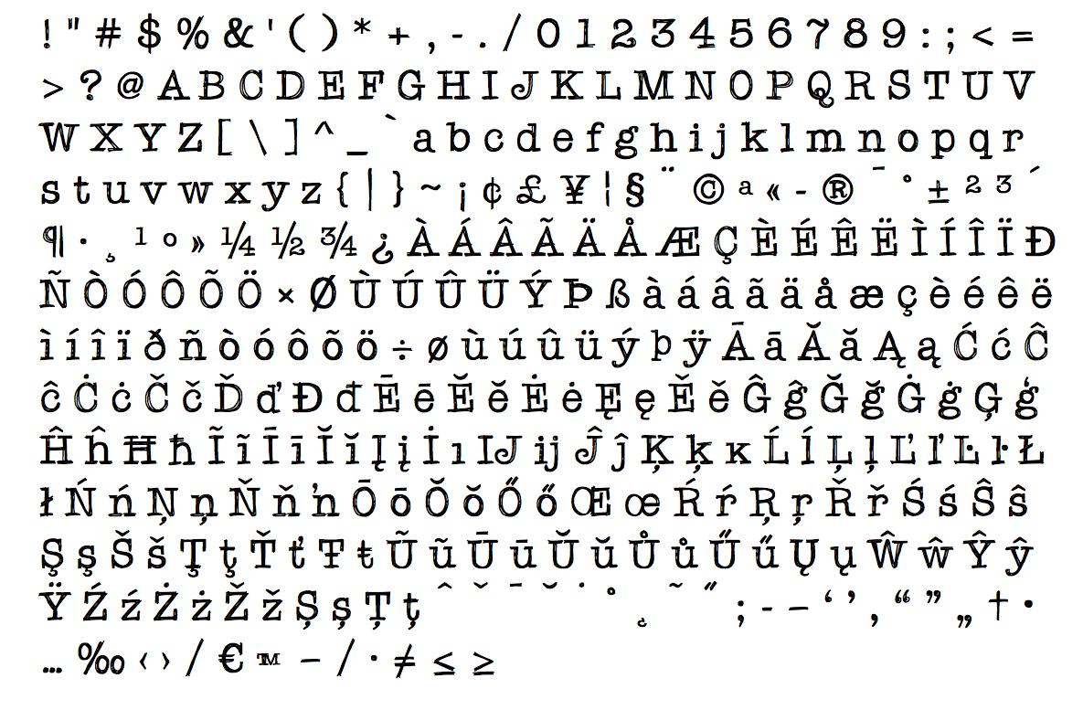 quattrotempi font - complete caracter list