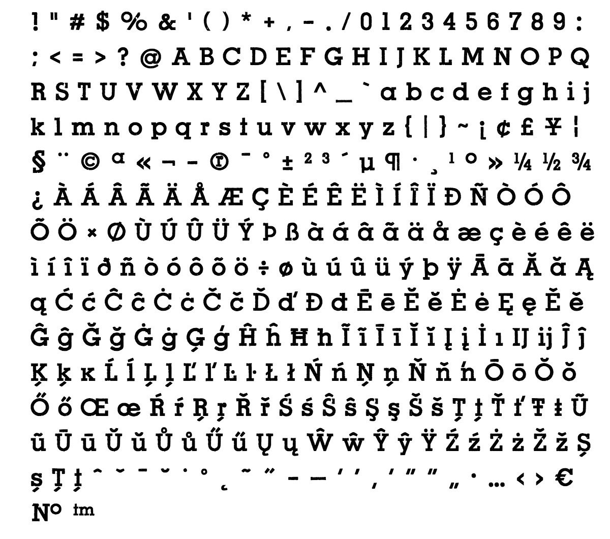 revers font - complete character list