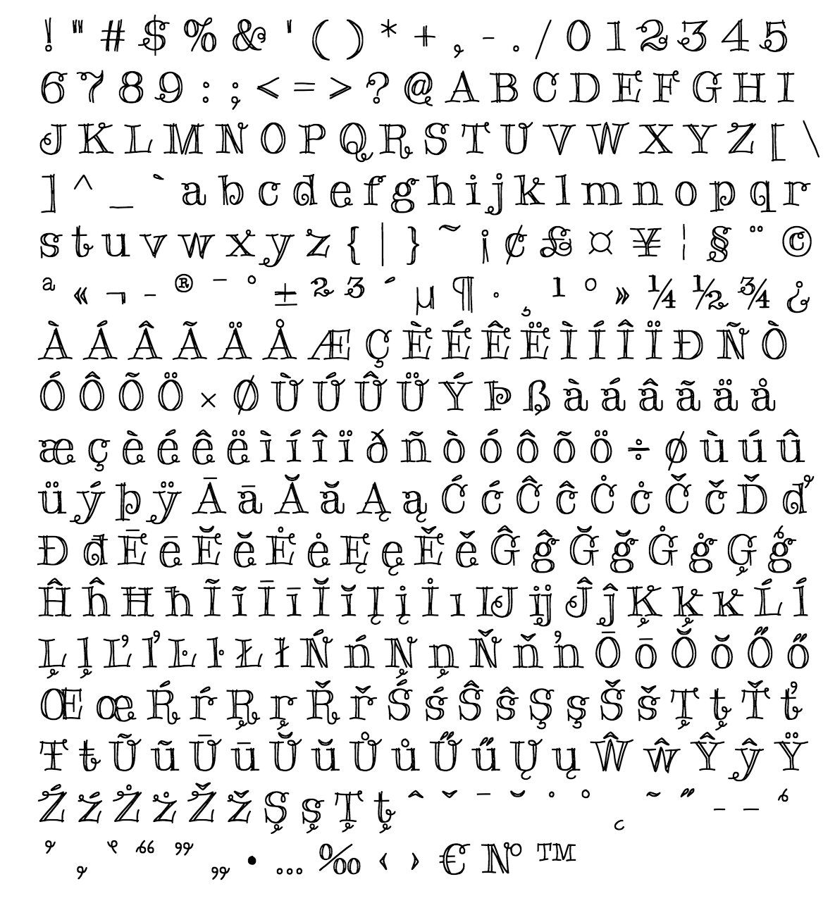 holy roller font - complete character list