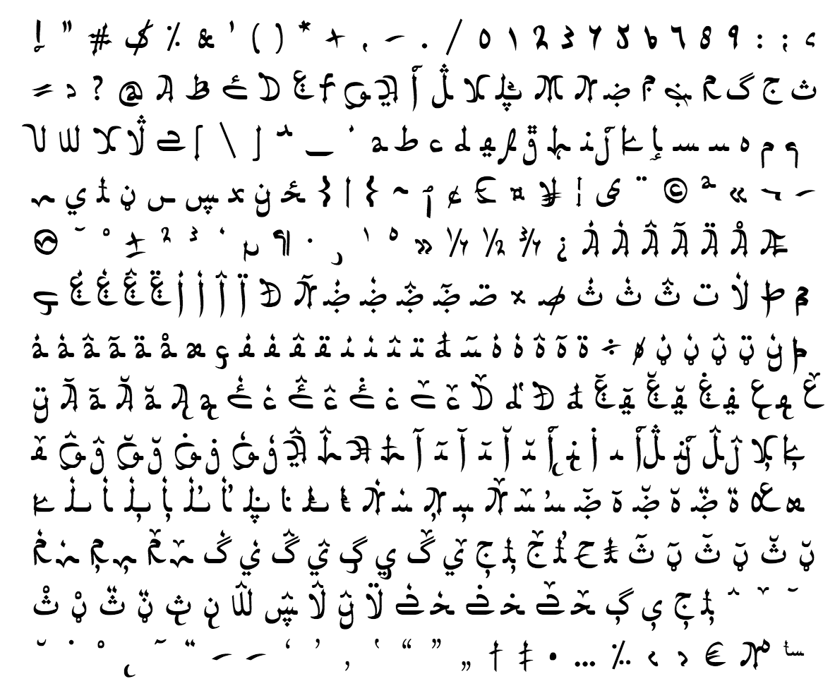 sahan font - complete character list