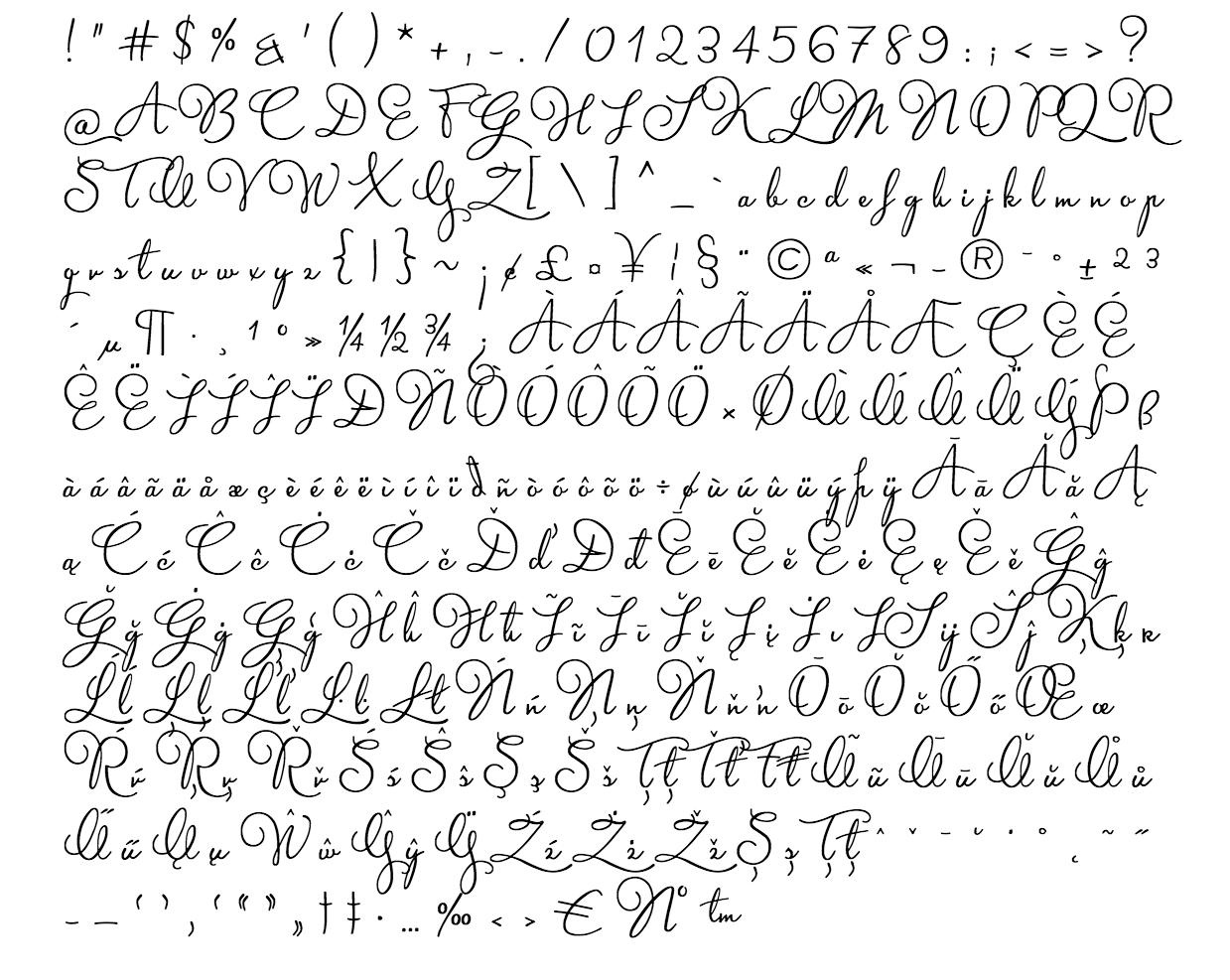 martita font - complete character list