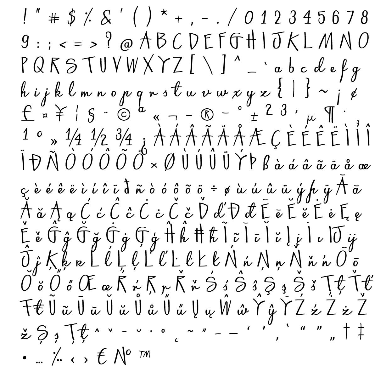 gwidon font - complete character list