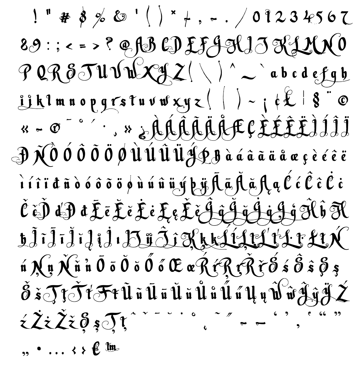 leitmotiv font - complete character list