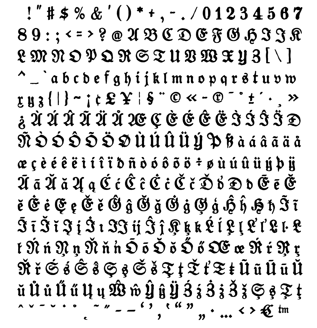 gotyk font  - complete character list