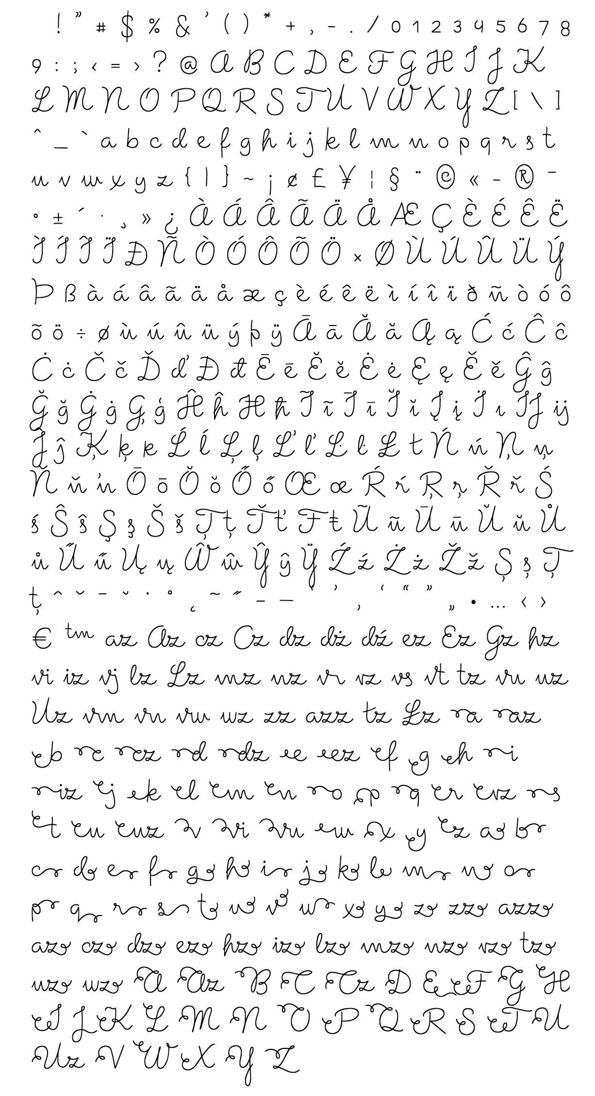 suarez font - complete character list