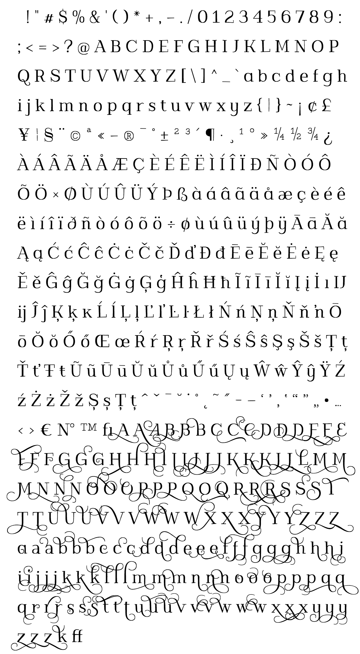 kowalski2 font - complete character list