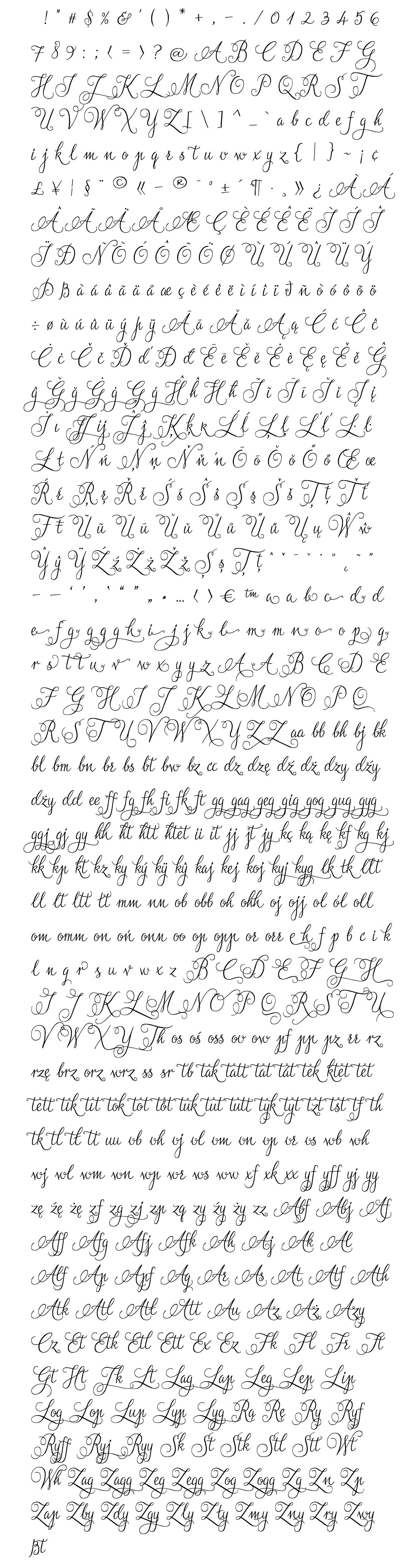 jasminum font  - complete character list